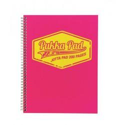 """Spirálfüzet, A4, vonalas, 100 lap, PUKKA PAD """"Neon"""", rózsaszín"""
