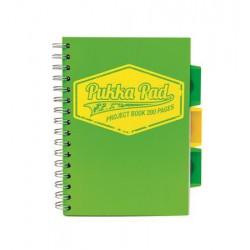 """Spirálfüzet, A5, kockás, 100 lap, PUKKA PAD """"Neon project book"""", zöld"""
