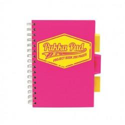 """Spirálfüzet, A5, kockás, 100 lap, PUKKA PAD """"Neon project book"""", rózsaszín"""