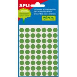 Etikett, 8 mm kör, kézzel írható, színes, APLI, zöld, 288 etikett/csomag