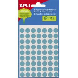 Etikett, 10 mm kör, kézzel írható, színes, APLI, kék, 315 etikett/csomag