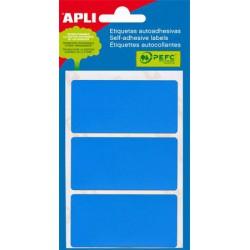 Etikett, 34x67 mm, kézzel írható, kék, APLI, 15 etikett/csomag