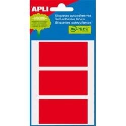 Etikett, 34x67 mm, kézzel írható, piros, APLI, 15 etikett/csomag