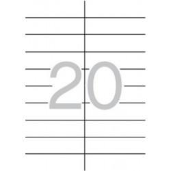 Etikett, 21x74,6 mm, kerekített sarkú, A5 hordozón, APLI, 300 etikett/csomag