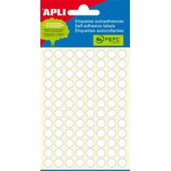 Etikett, 8 mm kör, kézzel írható, fehér, APLI, 480 etikett/csomag