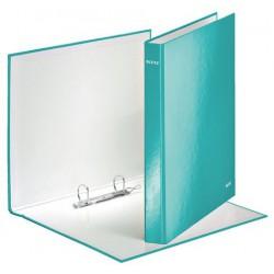 """Gyűrűs könyv, 2 gyűrű, D alakú, 40 mm, A4 Maxi, karton, lakkfényű, LEITZ """"Wow"""", jégkék"""
