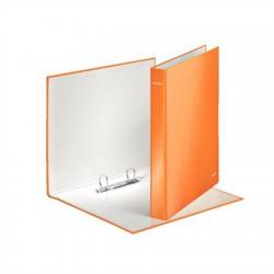 """Gyűrűs könyv, 2 gyűrű, D alakú, 40 mm, A4 Maxi, karton, lakkfényű, LEITZ """"Wow"""", narancssárga"""