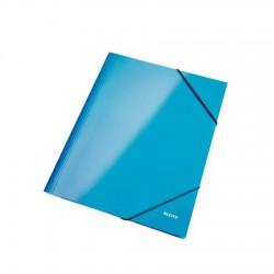 """Gumis mappa, 15 mm, karton, A4, lakkfényű, LEITZ """"Wow"""", kék"""
