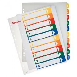 Regiszter, műanyag, A4 Maxi, 1-10, nyomtatható, ESSELTE, áttetsző