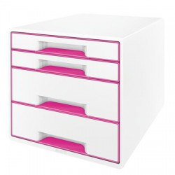 """Irattároló, műanyag, 4 fiókos, LEITZ """"Wow Cube"""", fehér/rózsaszín"""