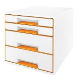 """Irattároló, műanyag, 4 fiókos, LEITZ """"Wow Cube"""", fehér/narancssárga"""