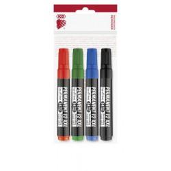 """Alkoholos marker készlet, 1-4 mm, vágott, ICO """"Permanent 12 XXL"""", 4 különböző szín"""
