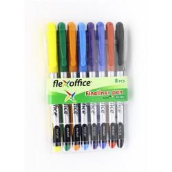 """Tűfilc készlet, 0,3 mm, FLEXOFFICE """"FL01"""", 8 különböző szín"""