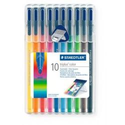 """Rostirón készlet, 1 mm, STAEDTLER """"Triplus"""", 10 különböző szín"""