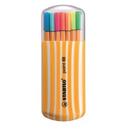 """Tűfilc készlet, 0,4 mm, STABILO """"Point 88 Zebrui"""", 15+5 különböző szín"""