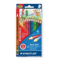 """Színes ceruza készlet, hatszögletű, ajándék grafitceruzával, STAEDTLER """"Noris Club"""", 12 különböző szín"""