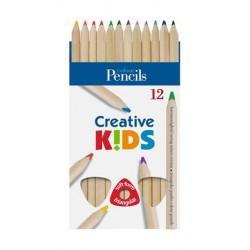 """Színes ceruza készlet, háromszögletű, vastag, natúr, ICO """"Creative Kids"""""""