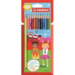 """Színes ceruza készlet, hatszögletű, STABILO """"Color"""", 12 különböző szín"""