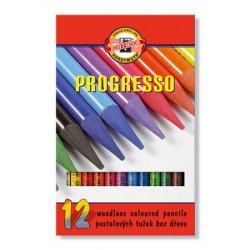 """Színes ceruza készlet, henger alakú, famentes, KOH-I-NOOR """"Progresso 8756/12"""", 12 különböző szín"""