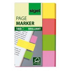 """Jelölőcímke, papír, 4x40 lap, 20x50 mm, SIGEL """"Multicolor"""", vegyes szín"""