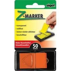 """Jelölőcímke, műanyag, """"Z"""", 50 lap, 25x45 mm, SIGEL, narancs"""