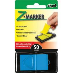 """Jelölőcímke, műanyag, """"Z"""", 50 lap, 25x45 mm, SIGEL, kék"""