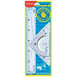 Vonalzókészlet, műanyag, 3 darabos, balkezes, MAPED