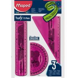 """Vonalzókészlet, műanyag, törhetetlen, 3 darabos, MAPED """"Twist`n Flex"""""""