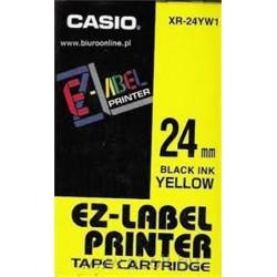 Feliratozógép szalag, 24 mm x 8 m, CASIO, sárga-fekete