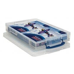 Műanyag tárolódoboz, átlátszó, papírok tárolására, 10 liter, REALLY USEFUL