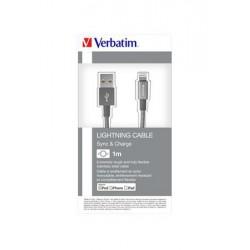 USB kábel, lightning, 100 cm, VERBATIM, szürke