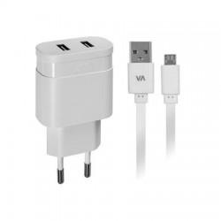 """Hálózati töltő, 2 x USB, 2,4A, micro USB kábellel, RIVACASE """"VA 4122 WD1"""", fehér"""