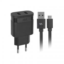 """Hálózati töltő, 2 x USB, 3,4A, micro USB kábellel, RIVACASE """"VA 4123 BD1"""", fekete"""