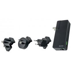 """Hálozati töltő és akkumulátor, USB, 3000 mAh, LEITZ """"Complete"""", fekete"""