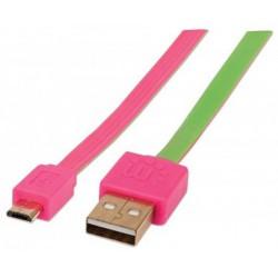 Kábel, csavarodásmentes, microUSB - USB, 1 m, MANHATTAN, rózsaszín-zöld