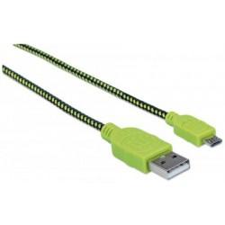 USB - micro USB kábel, 1 m, fonott, MANHATTAN, fekete-zöld
