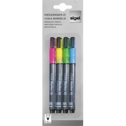 Folyékony krétamarker, kúpos hegy, 1-2 mm , 4 színben,SIGEL, vegyes