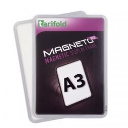 """Mágneses tasak, mágneses háttal, A3, TARIFOLD """"Magneto Solo"""", ezüst"""