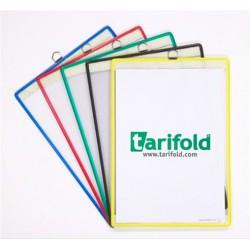 Bemutatótábla, acélkeretes, függő, A4, álló, fém fülecskével, TARIFOLD, sárga