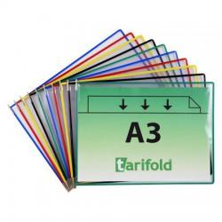 Bemutatótábla, A3, acélkeretes, fekvő, TARIFOLD, zöld