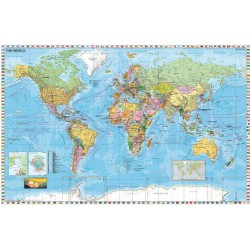 Falitérkép, 136x96 cm, fémléces, Föld országai, STIEFEL