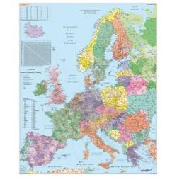 Falitérkép,100x140 cm, fémléces, Európa irányítószámos térképe, STIEFEL