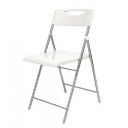 """Összecsukható szék, fém és műanyag, ALBA """"Smile"""", fehér"""