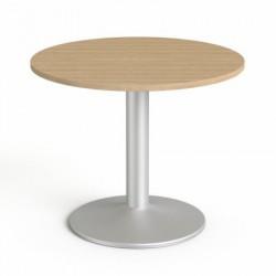 """Tárgyalóasztal, kör, szürke fémlábbal, O 90 cm, MAYAH """"Freedom SV-58"""", kőris"""
