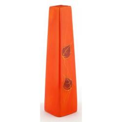 """Váza, kerámia, szálas, 30 cm, """"Lisszabon"""", narancs, arany levelekkel"""