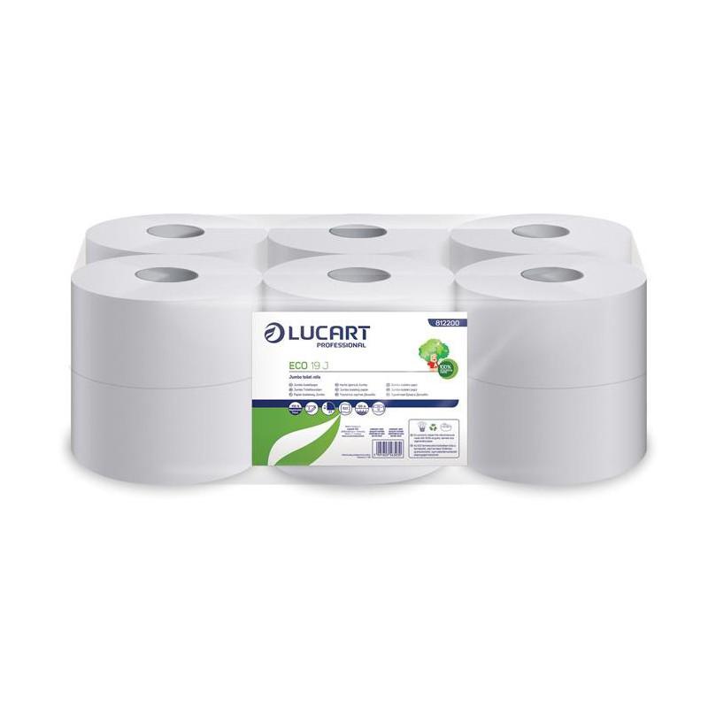 """Toalettpapír, 2 rétegű, 120 m, 19 cm átmérő, LUCART, """"Eco"""", fehér"""