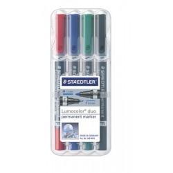 """Alkoholos marker készlet, F/M, 0,6/1,5 mm, kúpos, kétvégű, STAEDTLER """"Lumocolor Duo"""", 4 különböző szín"""