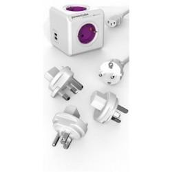 """Elosztó, 4 aljzat,2 USB csatlakozó, ALLOCACOC """"PowerCube ReWirable USB + 3x plug +IEC EU cable DE"""""""