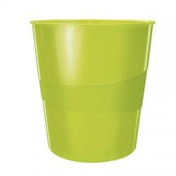 """Papírkosár, 15 liter, LEITZ """"Wow"""", metál zöld"""