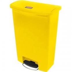 Pedálos szemetes, 87 l, műanyag, sárga, RUBBERMAID